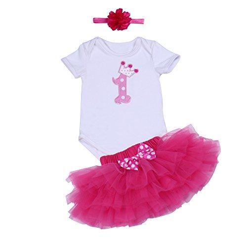 BabyPreg Baby Mädchen 1. Geburtstag Tutu mit Stirnband Set (L / 9-12 Monate, Heißes Rosa) (Stirnband Und Set Tutu)