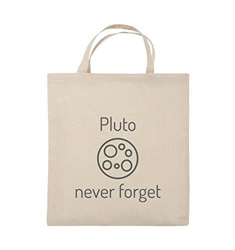 Comedy Bags - Pluto never forget - Jutebeutel - kurze Henkel - 38x42cm - Farbe: Schwarz / Pink Natural / Grau