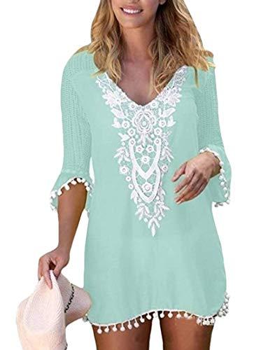 Strapless Terry (Yeirui Women Floral Lace Beach Dress Crochet Pom Pom Cover Up Swimwear Beachwear Green US XS)
