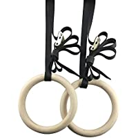 Gymnastics Functional Gym Strength Training Toumett Wooden Gymnastic Rings,Non-Slip Pull Ups and Dip Training Rings with 2 Straps for CrossFit Athletics