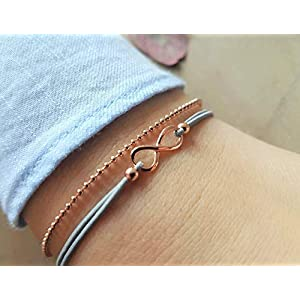 Armband Infinity mit Kugelkette Roségold 925