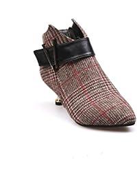 Hannea ZLL-Q777 Plaid Fabric Pointed Heel Short Boot Female Side Zipper Belt Buckle Deep V Martin Boots