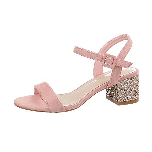 Ital-Design Damenschuhe Sandalen & Sandaletten High Heel Sandaletten Synthetik Rosa Gold Gr. 37 -