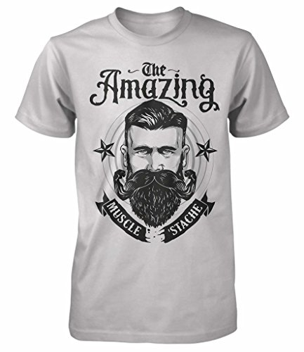 """Maglietta con scritta """"The Amazing"""", motivo divertente: uomo con la barba tipo hipster, stile retrò, tutte le taglie Medium,Grey Medium"""