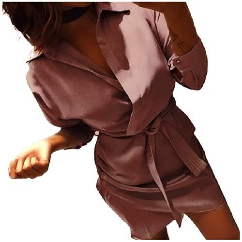 Andopa Damen v neck shirt langarm-belted design lounge minikleider XS Braun -