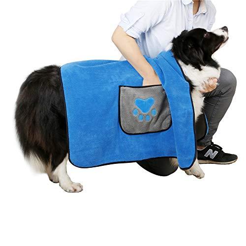 DADYPET Toallas de Baño para Mascotas, Toalla Playa para Perros Gatos Microfibra Súper Suave 100 * 70cm Azul