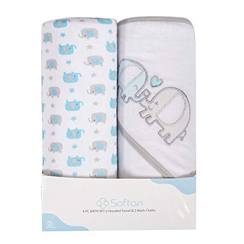 Juego de toallas y paños para bebé con capucha