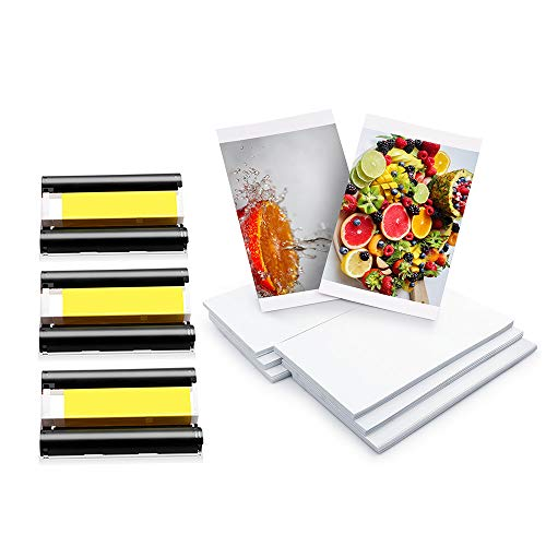 Airmall KP-108IN Fotopapier 100 x 148 mm 108 Blatt Papier und 3 Farbtintenkassetten Set Kompatibel mit Canon SELPHY CP Fotodrucker CP1300 CP1200 CP1000 CP910 CP900