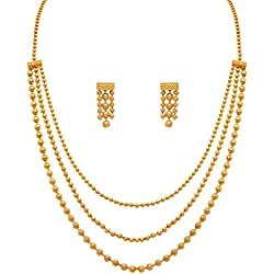YouBella Jewellery Fashion Party Wear and Wedding Wear Gold Plated Necklace Jewellery set with Earrings For Girls/Women