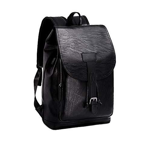 Aermima Casual Rucksack Herren PU-Leder-Mode-Trend wasserdicht kratzfest Laptoptasche mit Ladeanschluss,black