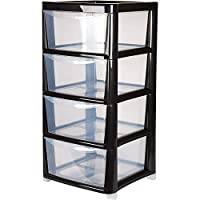 Drawer Tower Plastic 4 Tier Silver