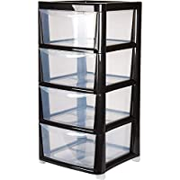 4 Drawer Large Plastic Storage Drawer Tower - Black - Perfect for Schools,Offices and Children's Toys