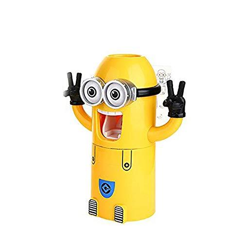 Ouken Cute súbditos de diseño de Lavado Conjunto Titular de Cepillo de Dientes automático dispensador de Pasta Dental con Taza de Pincel Amarillo (un Ojo)