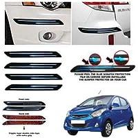 DARROR Rubber Car Bumper Protector Guard with Double Chrome Strip for Car 4Pcs - Black (for Hyundai EON)