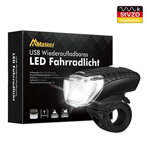 Malker LED Fahrradlicht StVZO Zugelassen Fahrradbeleuchtung Fahrrad Frontlicht Set, Wasserdicht, Abnehmbar Fahrradlampe USB Wiederaufladbare, Fahrradlichter mit 2 Licht-Modi