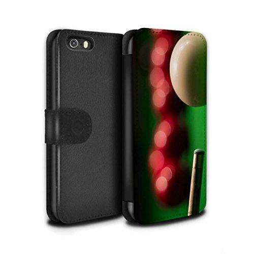 Stuff4 Coque/Etui/Housse Cuir PU Case/Cover pour Apple iPhone SE / Boul Blanc/Craie Design / Snooker Collection Cue Boule