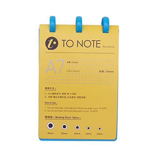 Aibecy KW-trio Tragbares Mini A7 Nachfüllbares Hardcover-Notizbuch-Notizbuch Loose Leaf-Papier-Pilz-Löcher 3-Ring-Binder Ideal für Reisebüros
