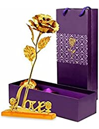 Vikas Gift Gallery Gold Plated Gold Rose With Gift Box And With Love Stand