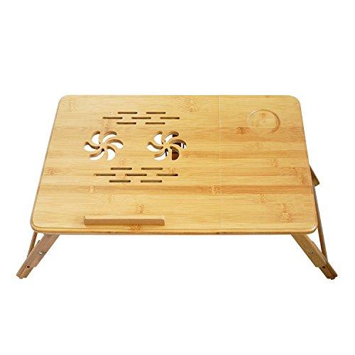 confronta il prezzo online Todeco – Tavolino Portatile Per Notebook con ventilazione, Vassoio Pieghevole, Regolabile, Materiale: Bambù, 55.1 x 35.1 cm
