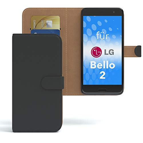 EAZY CASE LG Bello 2 Hülle Bookstyle mit Standfunktion, Book-Style Case aufklappbar, Schutzhülle, Flipcase, Flipstyle, Flipcover mit 2 Kartenfächern aus Kunstleder, Schwarz