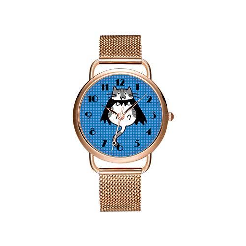 Frauen Uhren Marke Damen Mesh Gürtel ultradünne Uhr wasserdichte Uhr Quarzuhr Weihnachten Nette Halloween Katze Vampir Kostüm Uhren