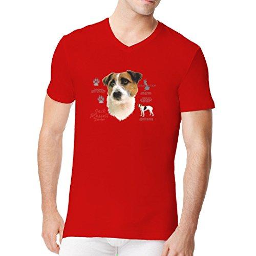 Im-Shirt - Jack Russell Terrier Hund cooles Fun Men V-Neck - verschiedene Farben Rot