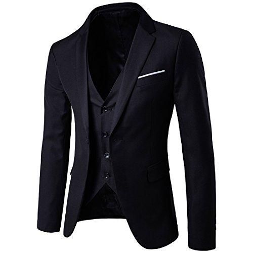GOMY Herren Slim Fit 3-Teilig Anzüge Business Hochzeit ein Knopf Smoking Schwarz