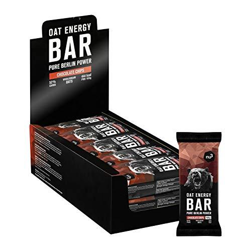nu3 15 barrette energetiche avena + cioccolato da 100g | barrette biologiche e vegane oat energy bar con il 60% di carboidrati con burro di cacao e vaniglia | confezione da 15 x 100 grammi