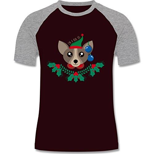 Weihnachten & Silvester - Chihuahua Weihnachts-Elfe - zweifarbiges Baseballshirt für Männer Burgundrot/Grau meliert