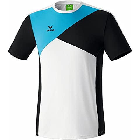 Erima adulto Premium One–Maglietta, unisex, Premium One T-Shirt, White - Weiß/Schwarz/Curacao, S