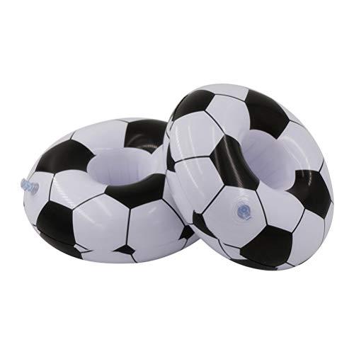 Amosfun portabicchieri gonfiabili forma calcio portabevande gonfiabile per piscina 2 pezzi