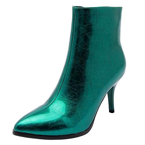Patent Croc (Junjie Damen Patent Pure Boots Mid-Boots Ankle Zipper Dünne Ferse Flach Sommer Sandalen Frauen Strand Elastischen Gemütlich Freizeitstiefel Schuhe Silber, Grün, Rot, Schwarz)