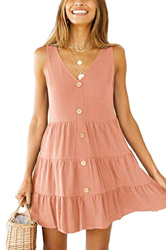 amen Sommerkleider V Ausschnitt Lose A Linie Ärmellos Tunika Swing Kleid Minikleid Rosa L ()