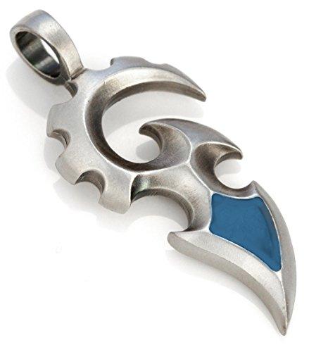 Spada pendente uomo Bico (B119)- indica imboccarsi, protezione e autorità - in resina colorata e metallo e Placcato argento, colore: Azzurro, cod. B119LB
