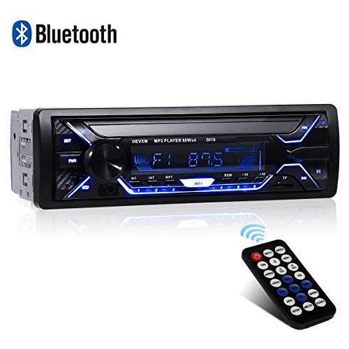 Autoradio Bluetooth, 1 Din Radio de Voiture, 4x60W Poste Radio 7 Couleurs FM Stéréo Radio USB/SD/AUX/EQ/Lecteur MP3 Autoradio