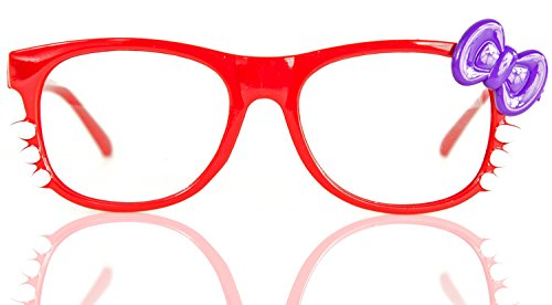 NERD-Brille Kitty ohne Seh-Stärke Damen Fenster-Glas Fasching Karneval Rot Lila Panto-brille Wayferer Horn-Brille Party-Brille