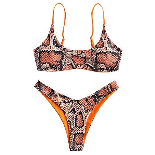 BOLANQ Damen Badeanzug Einteilege Leopardenmuster Bademode Figurformend Bauchweg Bikini Große Größe Strandmode -