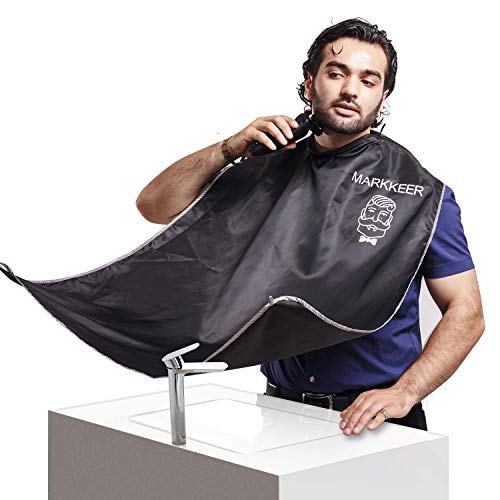 SUNWALY Shave Apron Trim Your Beard In Minutes Without The Mess And Stop Clogging Your Sink! Quality Grooming Cape - Keep Your Sink Clean and Girlfriend Happy! The Best Shaving Beard Gift!
