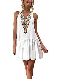 e9df9f4e76 Vestidos Verano Mujer Cortos Elegante Esencial Sin Mangas V Cuello Vestidos  Playa Mujer Blanco Patrón Etnica