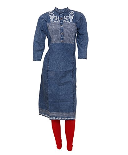 IndiWeaves Womens Blue Denim 3/4th Sleeves Embroidered Kurti_Size-Medium_DKS-01-IW-M