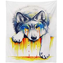 JLA Tapestry, Painted Animal Head Wall Hanging, Suitable For Living Room Bedroom Hallway Kitchen Decor, Multi-Functional Sofa Cover, Beach Towel, Tablecloth, Polyester,A,150X130cm