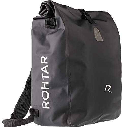 Rohtar 3in1 Fahrradtasche - wasserdicht & reflektierend - als Gepäckträgertasche, Umhängetasche & Rucksack einsetzbar - ideale Gepäcktasche fürs Fahrrad - 18L/25L (schwarz/gelb/rot) - (Schwarz, 25L)