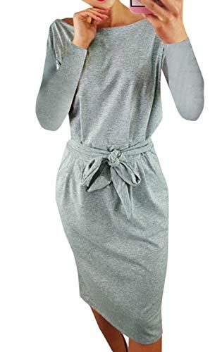 Ajpguot Damen Freizeit Kleid mit Gürtel Elegant Rundhals Midi Kleider Blusenkleider Ballkleid...