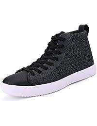 SHOWHOW Herren Flache Low Top Freizeitschuhe Sneakers Schwarz 43 EU t3G7ub