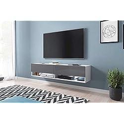 Selsey Wander - Meuble TV Suspendu/Banc TV avec LED (140 cm) (Blanc Mat/Gris Brillant)