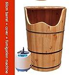 ZTWZLP Fußbad Fass Holz Pediküre Becken Fußmassage Becken Fußbad Whirlpool Haushalt Schlaf Verbesserung 60 cm hoch (Farbe : Wooden Barrel+Fumigation Machine)