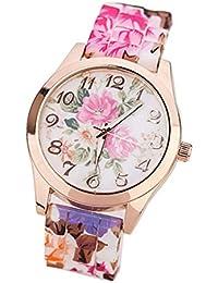 Reloj De Silicona De Estilo Pastoral Vintage,ZARLLE La Mujer Chica De Silicona Reloj De Cuarzo Relojes De Pulsera Impresa Flor Causal