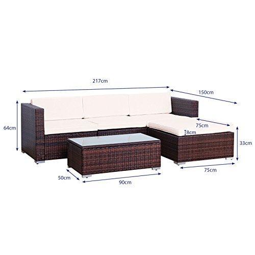 Svita Gartenset L (2 Sitze, 1 Tisch, 1 Bank) aus Rattan – variable Anordnung - 2