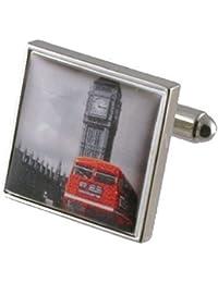 Big Ben Rojo Autobús De Londres Gemelos para hombre plata de ley 925gemelos + Free Mensaje personalizable Caja