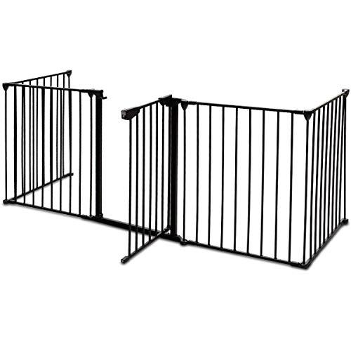 COSTWAY Barrera para Chimenea Seguridad Niño Metal Rejilla para Perros Plegable Puerta Escalera Protección Color Negro
